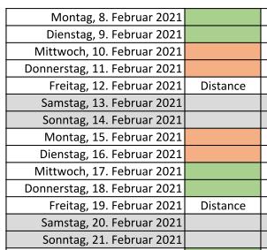 Schichtbetrieb ab 8.2.2021
